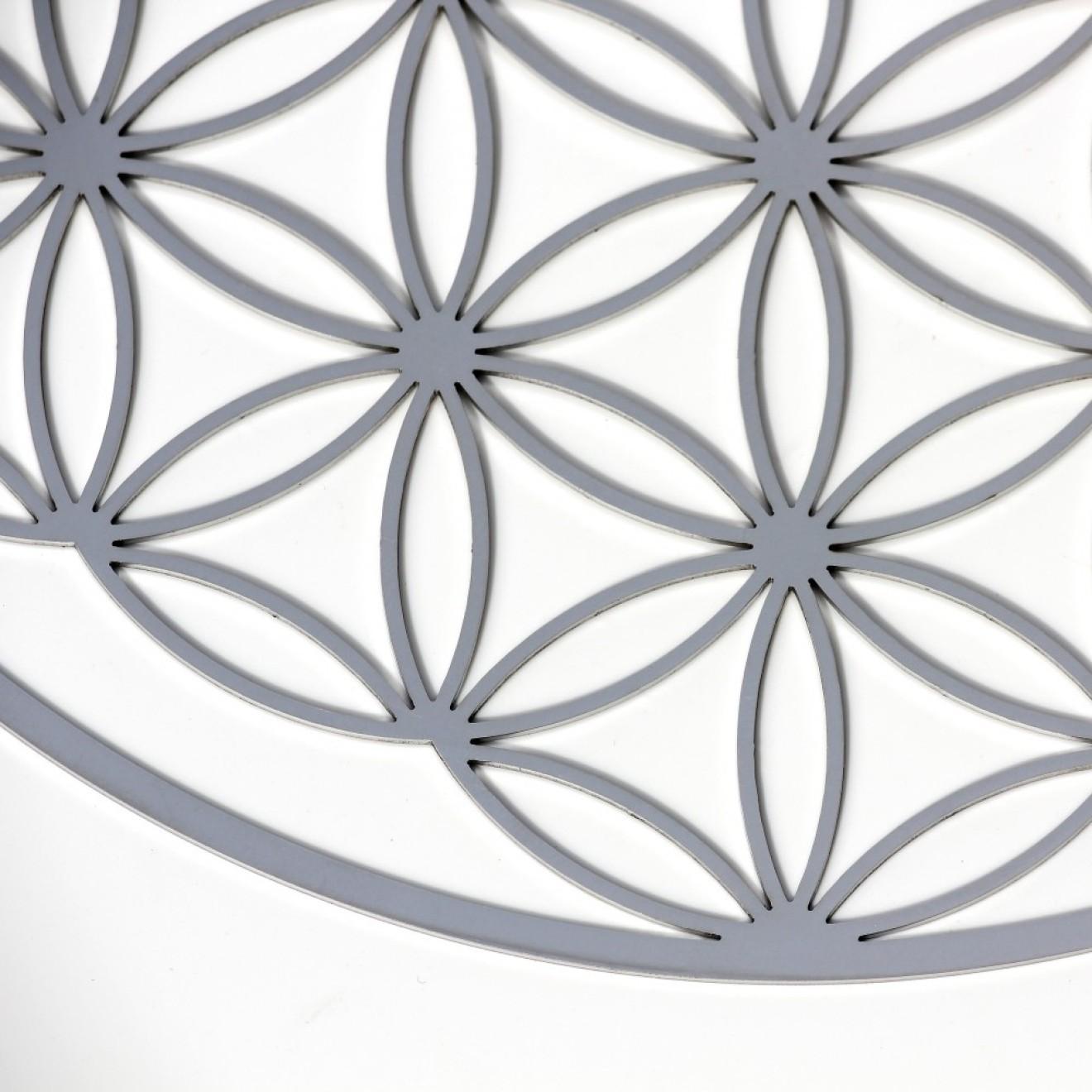 wandschmuck blume des lebens edelstahl 18 cm. Black Bedroom Furniture Sets. Home Design Ideas