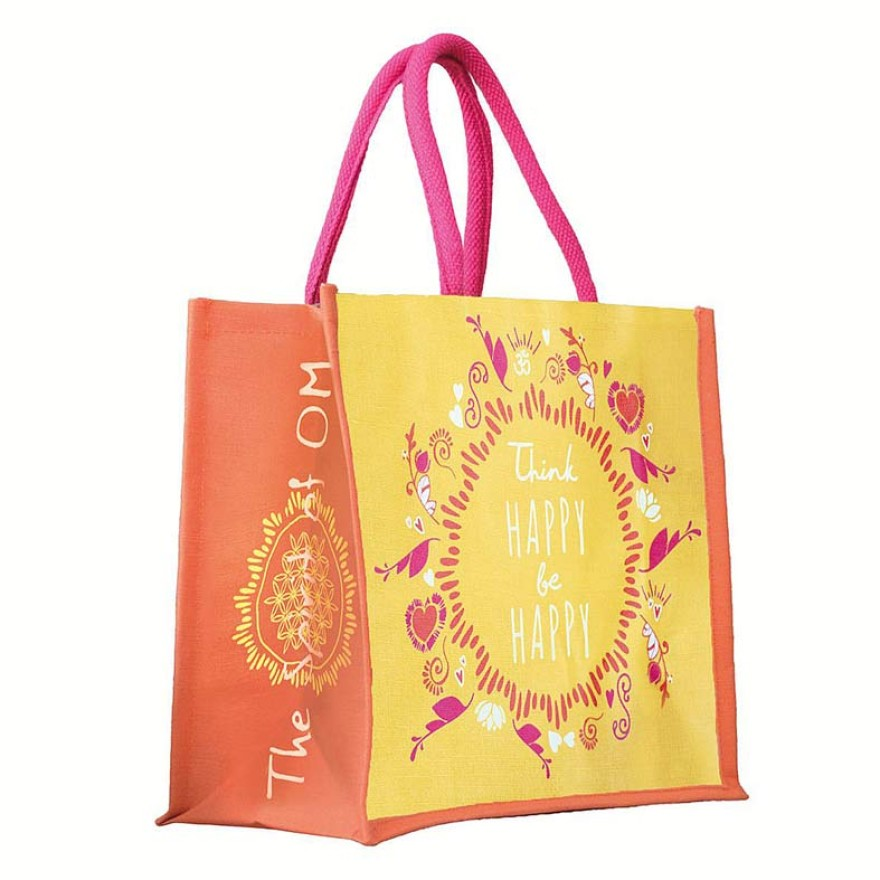 Jutetasche Spirit of Om, gelb-orange-pink