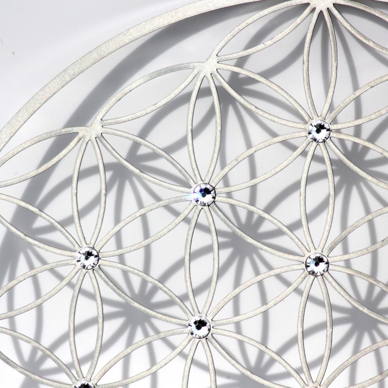 metall wandschmuck blume des lebens swarovski kristallen. Black Bedroom Furniture Sets. Home Design Ideas