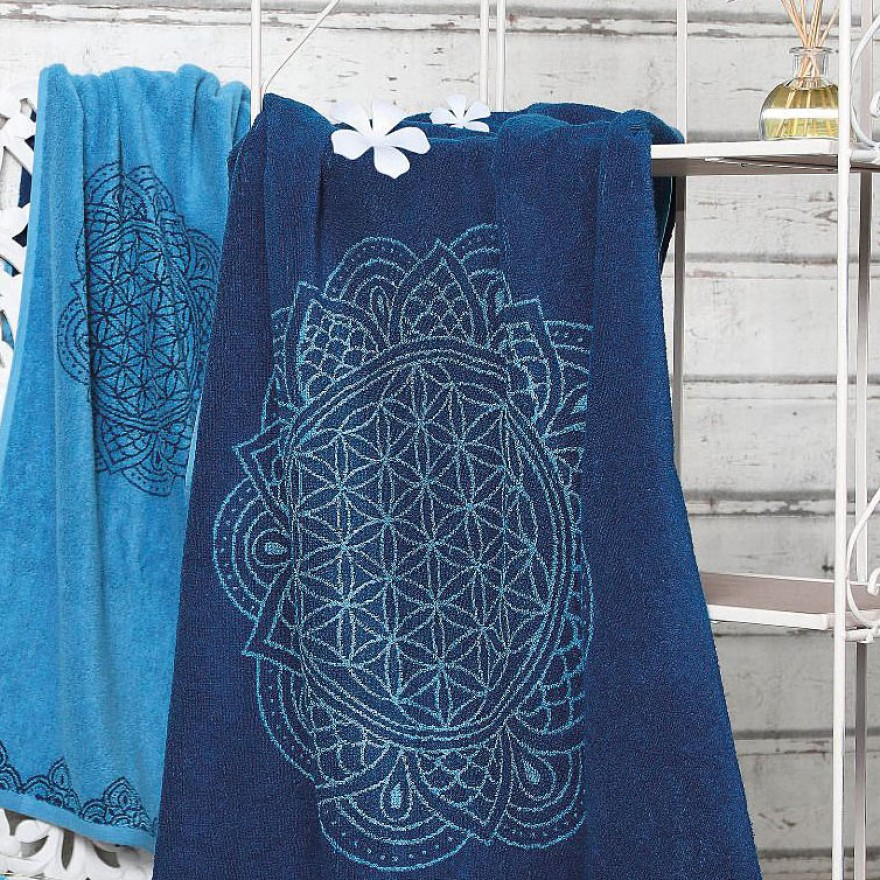 Spirit of Om Badetuch - Happy Flower of Life, Farbton ozeanblau-azur