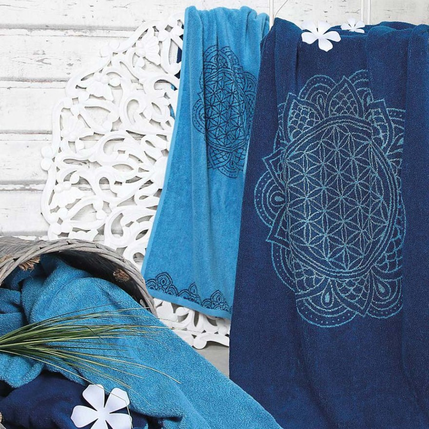Spirit of Om Handtuch - Happy Flower of Life, ozeanblau-azur