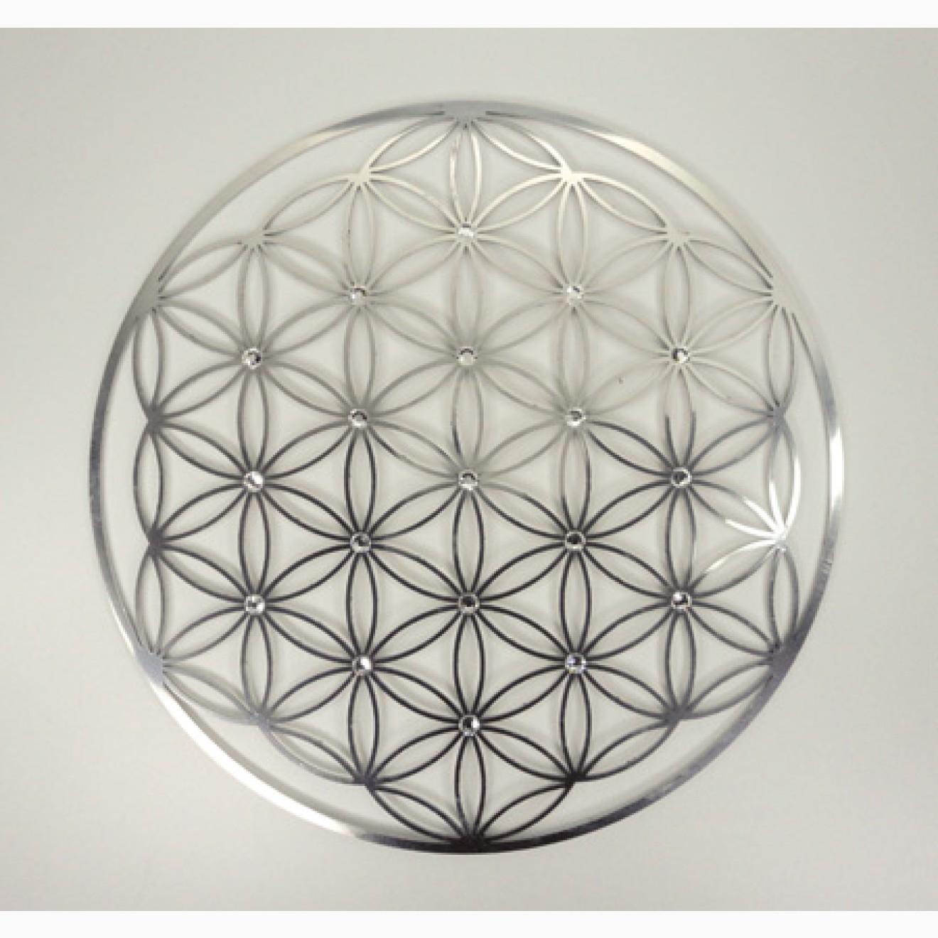 wandschmuck lebensblume edelstahl mit swarovski kristallen. Black Bedroom Furniture Sets. Home Design Ideas