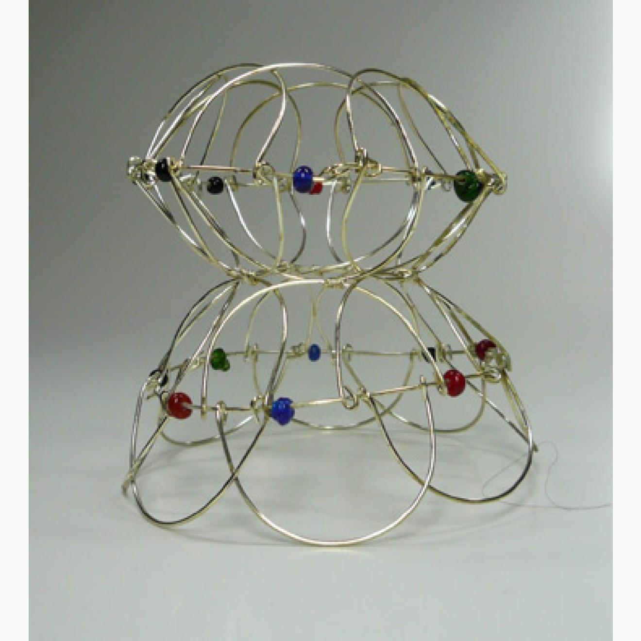 Draht Mandala   Faltmandala mit Glasperlen