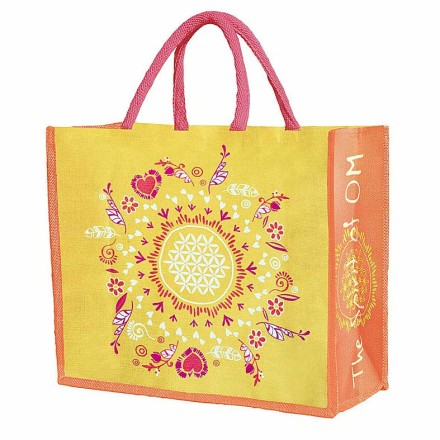Jutetasche Think Happy - be Happy, Farbe: gelb-orange-pink