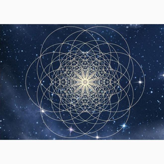 Postkarte Mit Multidimensionaler Blume Des Lebens