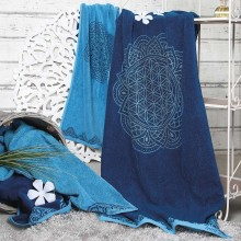 Liegetuch Happy Flower of Life, ozeanblau-azur